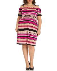 Blue Plate - Women's Pink/black/tan Babydoll Dress - Lyst