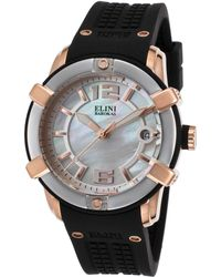 Elini Barokas - Spirit Black Silicone And Mop Dial Rose-tone Ss Case Silver-tone Bezel - Lyst