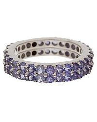 Vanhi - Sterling Silver Tanzanite Stackable Ring Set Of 2 - Lyst