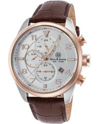 Ben Minkoff - Martin Multi-function Brown Genuine Leather Silver-tone Dial Ss - Lyst