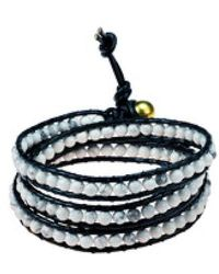 Aeravida - Triple Wrap Stone And Leather Fusion Bracelet - Lyst