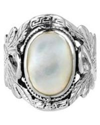 Aeravida - Beautiful Couple Swan Oval Stone Sterling Silver Ring - Lyst