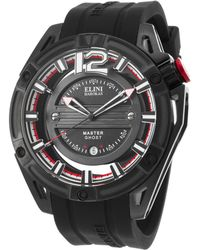 Elini Barokas - Master Ghost Black Silicone And Dial Black Ion Plated Ss - Lyst