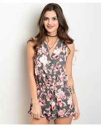 Leather And Sequins - Pink Black Floral Sleeveless Romper - Lyst