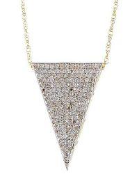 Vanhi - 14k Gold White Diamond Dagger Pendant Necklace - Lyst