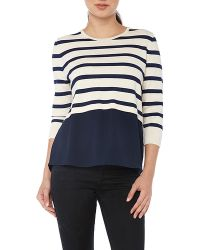 YAL New York - 3/4 Sleeve Striped Sweater With Solid Chiffon - Lyst