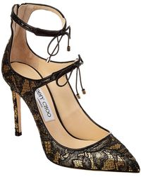 Jimmy Choo - Sage 100 Lace Metallic Lurex Pump - Lyst