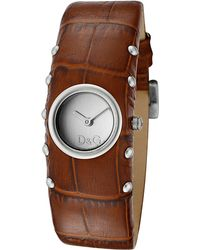 Dolce & Gabbana - Women's Cottage Silver Dial Light Brown Leather - Lyst