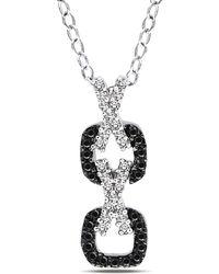 Catherine Malandrino - Black And White Diamond X O Pendant W/chain - Lyst
