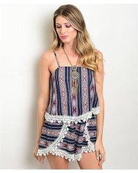 Leather And Sequins - Navy Crochet Romper - Lyst
