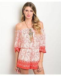 Leather And Sequins - Coral Gem Gypsy Romper - Lyst
