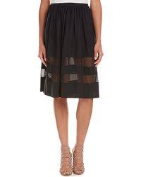 Amanda Uprichard - Mesh-trim Silk Midi Skirt - Lyst