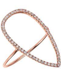 CR By Casa Reale - 18 K Gold White Diamond Open Tear Drop Ring - Lyst