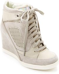 "French Connection - """"marla"""" Suede Wedge Trainer - Lyst"