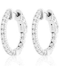 Suzy Levian - 14k White Gold 3/4 Ct Tdw Diamond Inside-out Hoop Earrings - Lyst