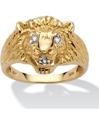 Palmbeach Jewelry - Men's Diamond Accent 10k Yellow Gold Lion's Head Ring - Lyst