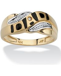 """Palmbeach Jewelry - Men's Diamond Accent \""""dad\"""" I.d. Ring In 10k Yellow Gold - Lyst"""