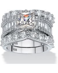 Palmbeach Jewelry - 6.18 Tcw Princess-cut Cubic Zirconia Three-piece Bridal Ring Set In Platinum Over Sterling Silver - Lyst