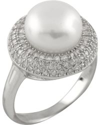 Splendid - Fancy Halo Cz Pearl Ring - Lyst