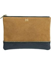 Mofe - Sage Suede And Leather Dual-texture Colorblock Pouch-style Clutch With Zipper Trim Details - Lyst