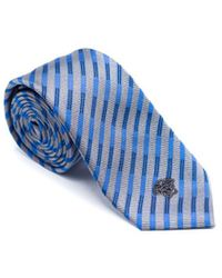 Versace - Mens Grey Blue Striped Pure Silk Medusa Ties - Lyst