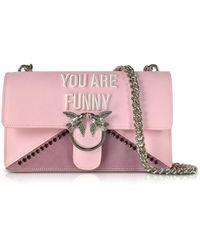 Pinko - Women's Pink Synthetic Fibers Shoulder Bag - Lyst