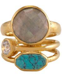Melinda Maria - Courtney 14k Plated Labradorite, Turquoise & Cz Ring - Lyst