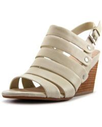 Naya - Lassie Women Open Toe Leather Ivory Wedge Sandal - Lyst