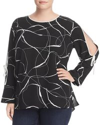 Vince Camuto - Womens Plus Printed Long Sleeves Blouse - Lyst
