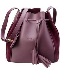 Longchamp - Penelope Soft Leather & Suede Bucket Bag - Lyst