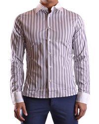 Dirk Bikkembergs - Men's Mcbi097011o White/grey Cotton Shirt - Lyst