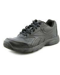 Reebok - Work 'n Cushion Women Round Toe Leather Black Work Shoe - Lyst