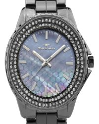 Tavan - Mermaid Ladiesâ¿ Watch With Ceramic Links, Austrian Crystals, Textured Mother Of Pearl Dial - Lyst