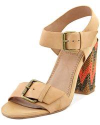 Ella Moss - Tessa Women Open Toe Leather Tan Sandals - Lyst