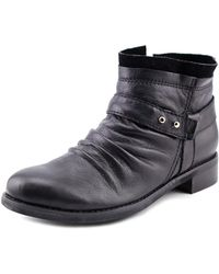 All Black - Layered Bootie Women Round Toe Leather Black Bootie - Lyst
