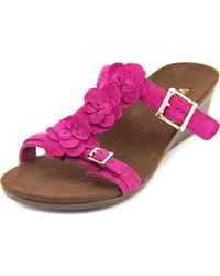 Vionic - Park Clay W Open Toe Suede Wedge Sandal - Lyst
