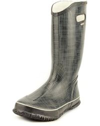 Bogs - Linen Women Round Toe Synthetic Black Rain Boot - Lyst