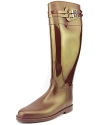 Sloosh - Classic Glossy Tall Round Toe Synthetic Rain Boot - Lyst