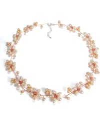 Aeravida - Intricate Cultured Freshwater Pearl Flower Link .925 Silver Necklace - Lyst