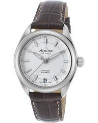Alpina - Women's Comtesse Automatic Dark Grey Genuine Leather Silver-tone Dial - Lyst
