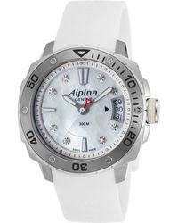 Alpina - Women's Extreme Diver Diamond White Rubber Mother Of Pearl Dial - Lyst