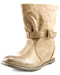 All Black - Belts & Tweed Women Round Toe Leather Mid Calf Boot - Lyst