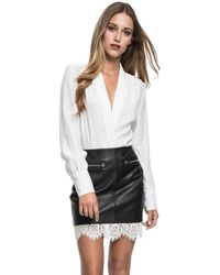 Lamarque - Ohara Long Sleeve Wrap Bodysuit - Lyst