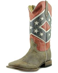 Roper - Rebel Flag Round Toe Leather Western Boot - Lyst