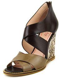 Plenty by Tracy Reese - Kalista Open Toe Leather Wedge Sandal - Lyst