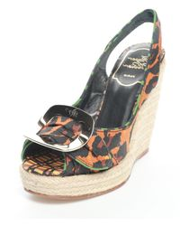 Roger Vivier - Canvas Straw Slope With Peep-toe Sandals Leopard - Lyst