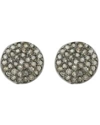 Adornia - Diamond And Sterling Silver Imogen Disc Studs - Lyst