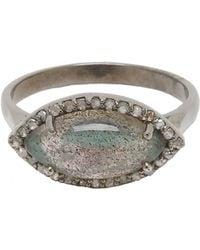 Adornia - Labradorite And Champagne Diamond Mini Marquis Ring - Lyst