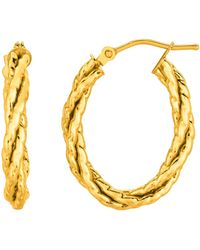 Jewelry Affairs - 14k Yellow Gold Twisted Oval Hoop Earrings - Lyst