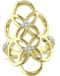 Catherine Malandrino | 18k Yellow Gold Plated Circle Linked Floral Gladiator Ring | Lyst